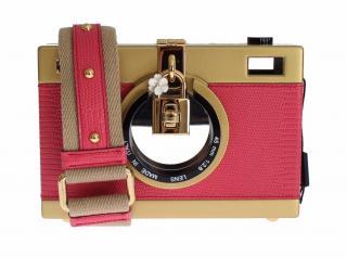 Dolce and Gabbana Pink Leather Camera Shoulder Bag