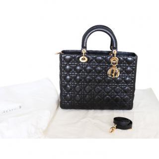 Dior Large Black Leather Lady Dior Bag