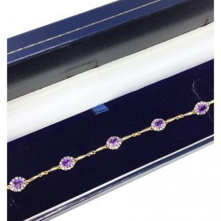 9ct Gold Amethyst & Diamond Cluster Bracelet