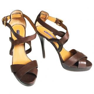 RALPH LAUREN COLLECTION  leather platform sandals