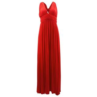 Alexander Mcqueen Red Pleated Cross Back Gown
