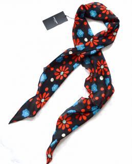 Saint Laurent black silk floral print scarf