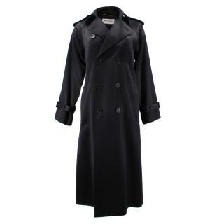 Saint Laurent Shiny Black Trench Coat
