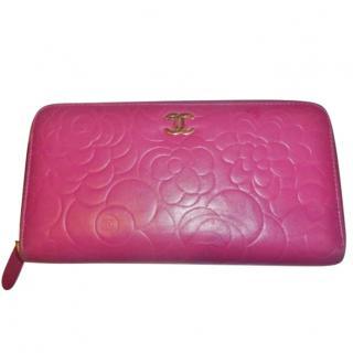 Chanel Pink Camellia Zip Wallet