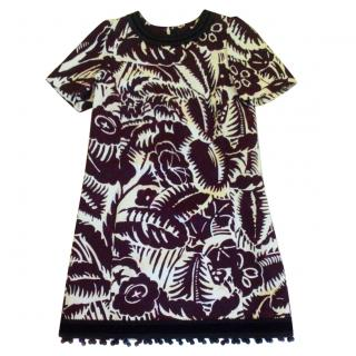 MARC JACOBS PRINTED POM POM HEM COTTON MINI DRESS