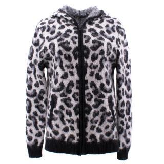 Maje Leopard Pattern Knit Hoodie