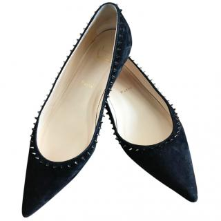 Christian Louboutin black suede spiked flats