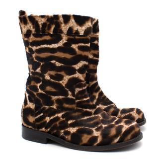 Lanvin Girls Leopard Calfskin Boots