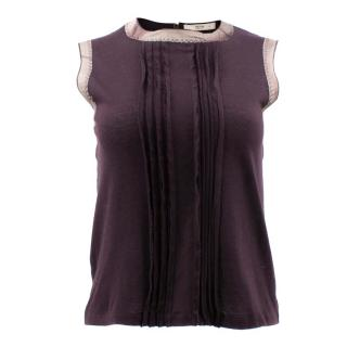 Prada Burgundy Shantung Trims Vest Top