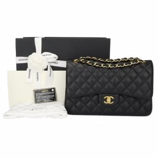 CHANEL Classic Jumbo Double Flap Black Lambskin with Gold Hardware