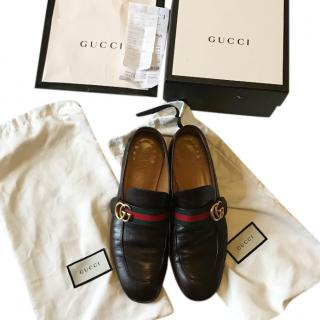 Gucci Brown �Donnie  GG Mens Leather Loafers Size UK 9