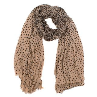Mulberry Camel Large Leopard Pattern Scarf
