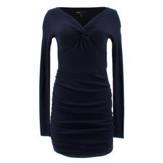 Maje Navy Ruched Jersey Dress