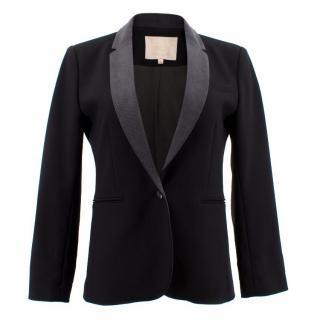 Maje Black and Grey Collar Blazer