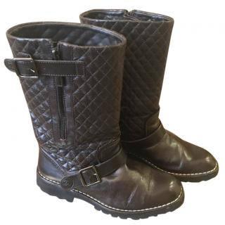 Chanel Dark Brown Leather Boots