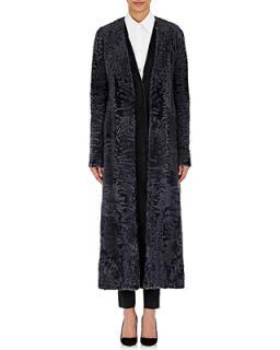 The Row Denise Blue Lambs Fur Coat