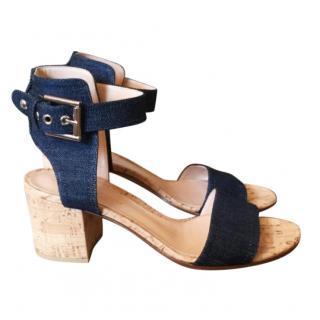 Gianvito Rossi Denim & Cork Block Heel Sandals