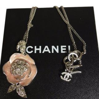 Chanel Camellia CC Pink Necklace With Crystals