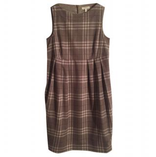 Burberry London Wool Check Pleated Dress