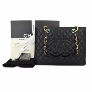 CHANEL Grand Shopping Tote (GST) Black Caviar with Gold Hardware