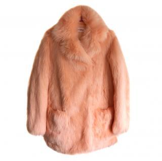 Chloe Peach Faux Fur Coat