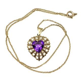 9ct Gold Amethyst Heart Pendant & Chain