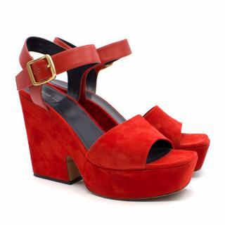 Celine Red Suede Leather-Trimmed Sandals