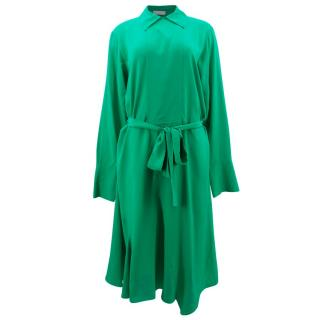 Mulberry Shiny Green Crepe Shirt Dress with Belt