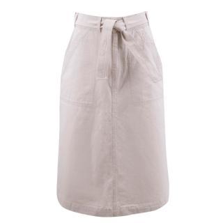MHL. Beige Denim Midi Skirt with Belt