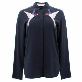 Stella McCartney Swallow Embroidered Silk Blouse