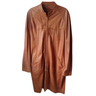 Oswald Boateng men's full length leather coat