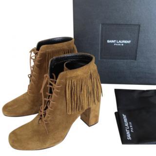 Saint Laurent tan fringed suede ankle boots
