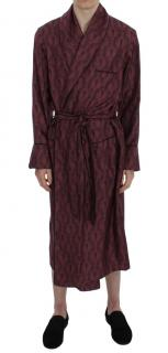 Dolce & Gabbana Bordeaux Baroque Silk Robe