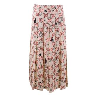 Gucci Ghost Logo Print Pleated Skirt