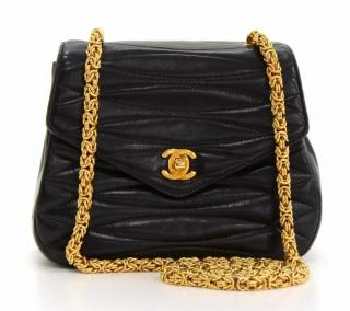 1991 Chanel Black Quilted Lambskin Vintage Single Flap Bag