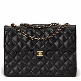 2003 Chanel Black Quilted Jumbo XL Flap Bag