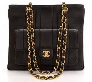 Chanel Black Vertical Quilted Vintage Timeless Shoulder Bag