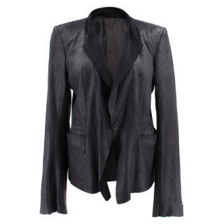 Rick Owens Black Leather Blazer Jacket