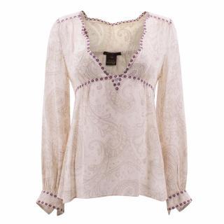 Louis Vuitton Paisley Print Sheer Silk Peasant Top