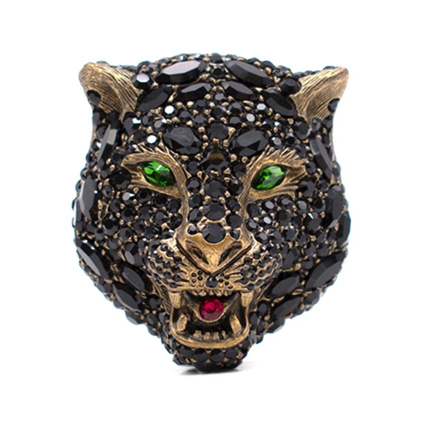 6aa7b1f2cb4 Gucci Black Crystal Tiger Head Brooch