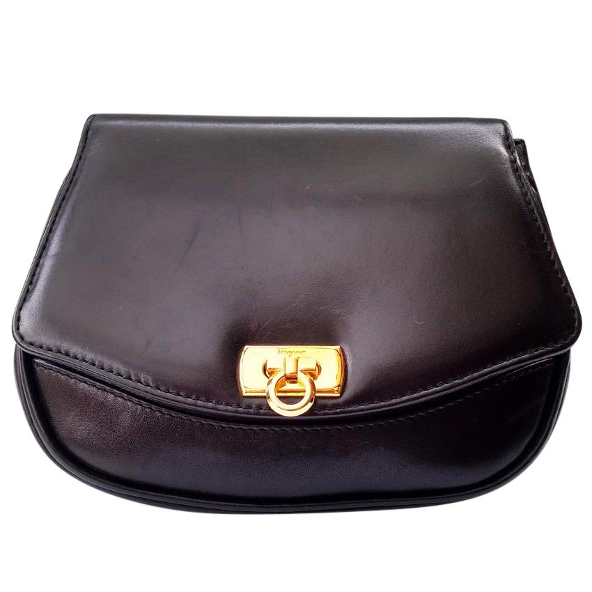 75f5afcf44b Salvatore Ferragamo Vintage Black Leather Shoulder Bag Clutch Bumbag ...