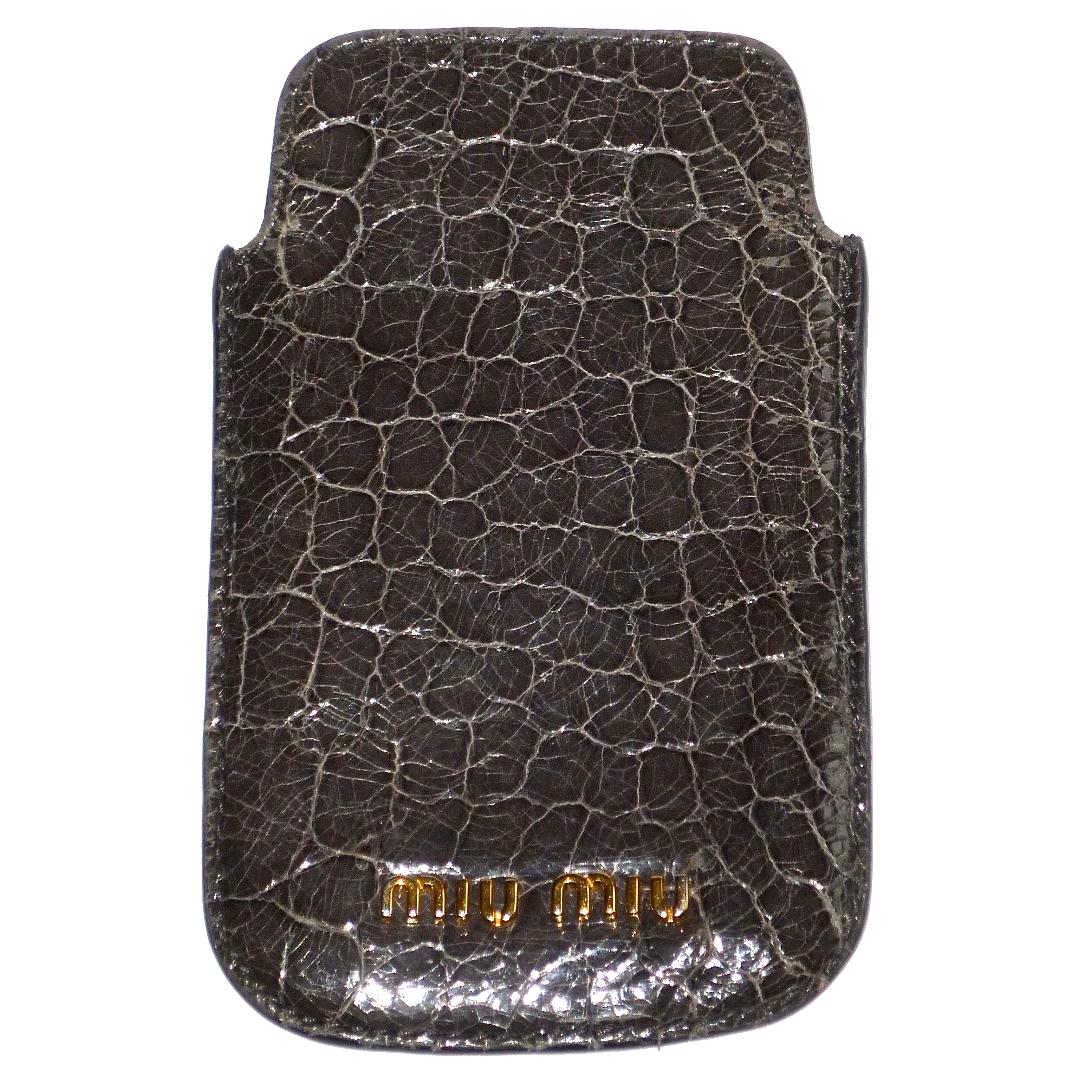 91ba1f026c7a Miu Miu Grey Crocodile Print Leather Phone Case