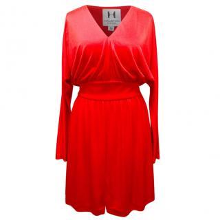 Halston Heritage Kimono Silky Jersey Red Dress
