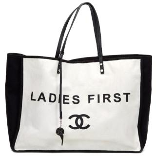 Chanel Black And White Canvas Ladies First Shopper Tote