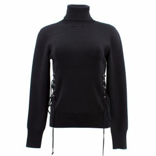 David Koma Lace-Up Turtleneck Pullover