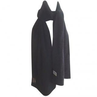 Falke Black Charcoal Grey Merino Wool Scarf
