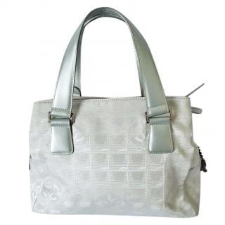 Chanel Silver CC Logo Jacquard Handbag