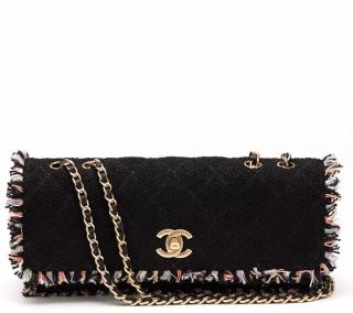 Chanel Black And Multi Tweed East West Classic Single Flap Bag