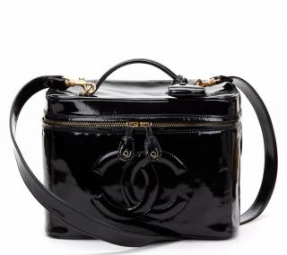 Chanel Black Patent Leather Vintage Vanity Bag