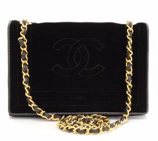 Chanel Black Velvet Vintage Classic Single Flap Bag